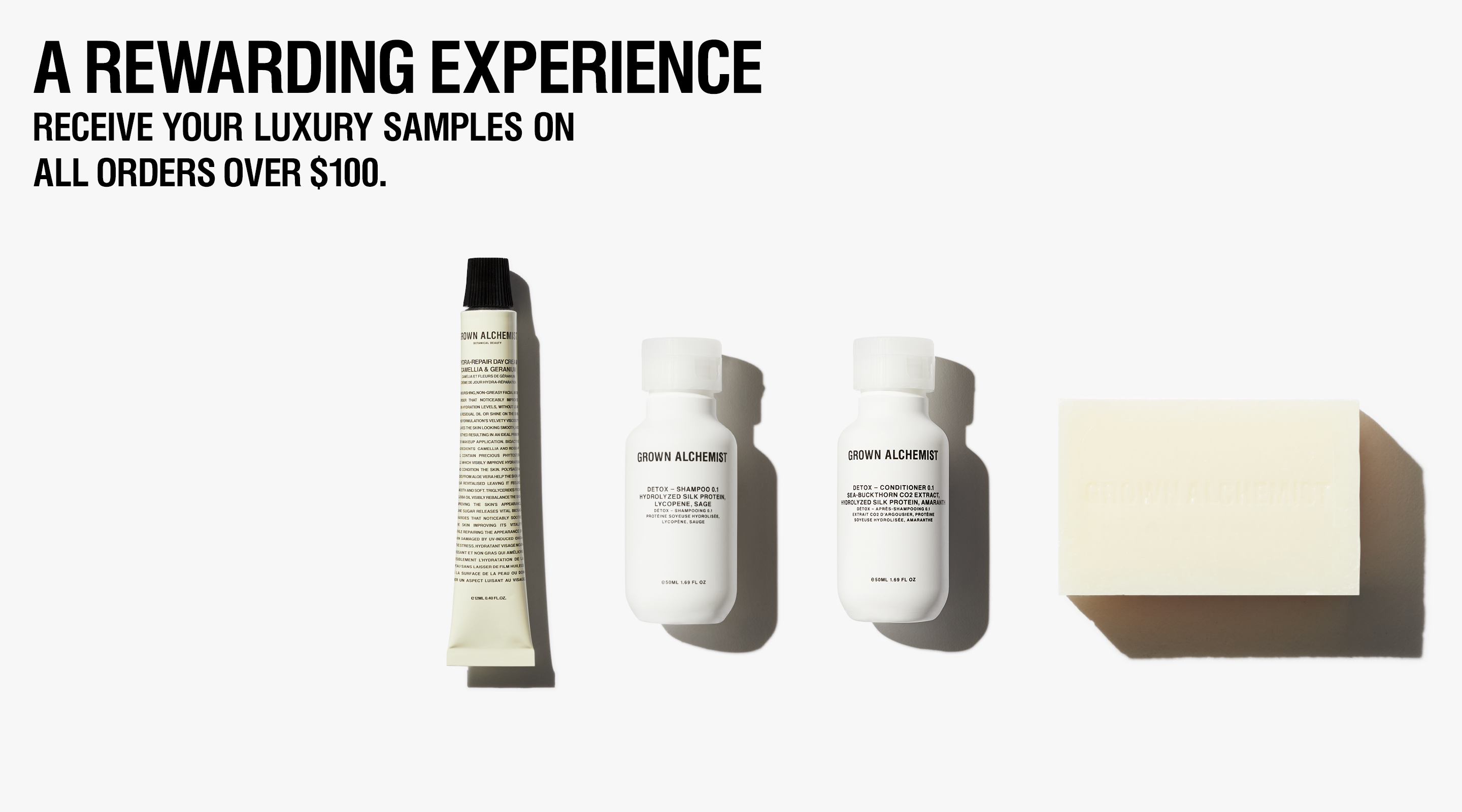 Grown Alchemist Complimentary samples on orders over $100