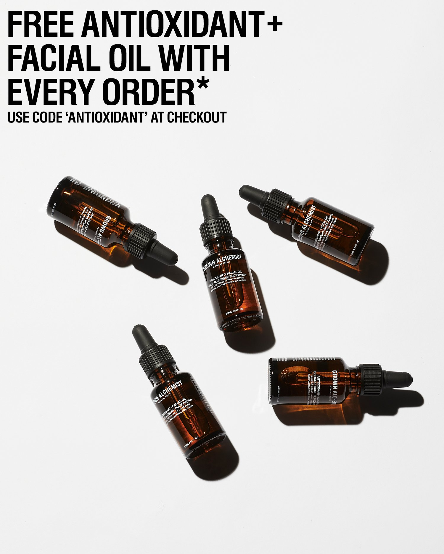 Free Antioxidant Facial Oil with all orders over $100